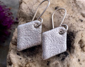 Silver Translucent Small DICHROIC EARRINGS Simple Little Sterling Silver & Translucent Fused Glass