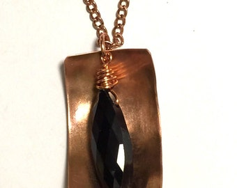 Copper and Black Crystal Necklace