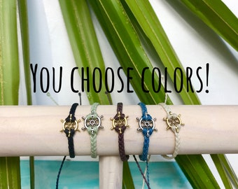 Ship's wheel braided bracelet, Pura vida bracelet, Custom color, Gold ships wheel, Silver ships wheel, Nautical bracelet, Adjustable