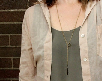 Triangle Threader Necklace with Antiqued Brass Beads
