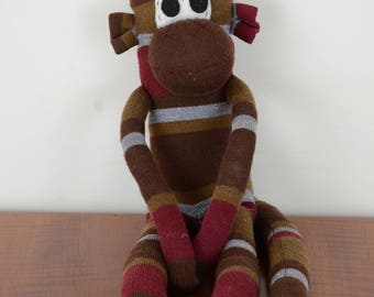 Natural striped Sock Monkey, Sock monkey doll, stuffed animal, kids toy,