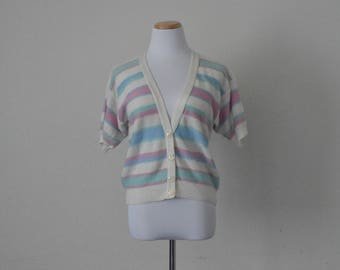 FREE usa SHIPPING Vintage 70's ladies knit striped cardigan/spring cardigan/ V neck sweater/ button up/ light cardigan/ acrylic size S