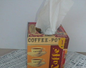 Tissue Box Cover Holder Coffee Lovers Decoupage Tissue Box Handmade by VintageReinvented