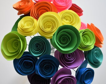 Rainbow Paper Flowers, Colorful Paper Rose Bouquet, Rainbow Bouquet