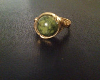 """gold"" solid brass and natural and semi-precious stone ring"