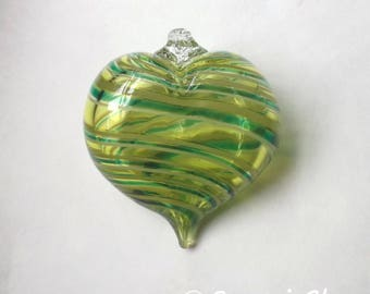 Light Green Stripe Heart Ornament : DISASTER RELIEF