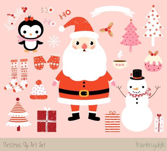 kawaii christmas clipart images cute christmas clip art set santa rh etsystudio com cute christmas clipart free download cute christmas clipart free download