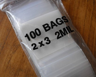 TAX SEASON Stock up 100 Pack White Block Zip Top Poly Pags 2 x 3 Inch Size Great for Beads,collectibles,stamps, etc.