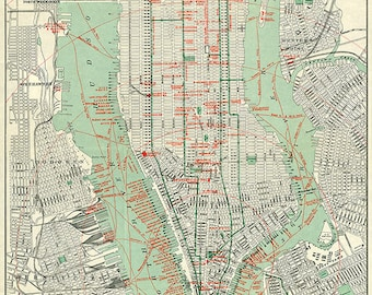 City of Manhattan, New York, NY.  Geo. H. Walker & Co.  1898.  Reproduction Vintage Map.