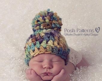 CROCHET Pattern - Crochet Hat Pattern - DIY Crochet Beanie - Baby Hat Crochet Pattern - Baby to Adult Sizes - Photo Prop Pattern - PDF 225