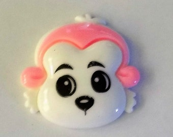 Resin White Faced  Monkey  Flat Back Button - #R-00080