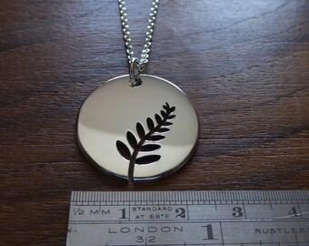 Silver Fern Tree Pendant Necklace