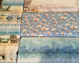 Wilmington Prints Coastal Bliss Series.  Ocean, Sea, Shells Water, Beach
