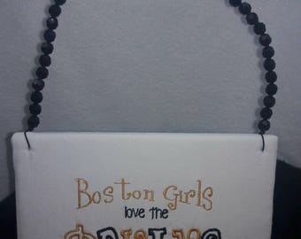 Boston Girls Love The Bruins wooden wall hanging Black and Gold