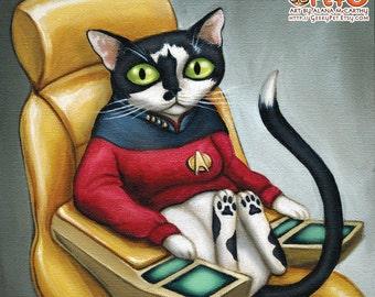 "Star Trek Cat - 8 x 8"" art print - kitty dressed up as starfleet captain Picard on the bridge of the enterprise"