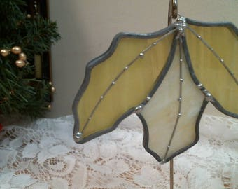 yellow stained glass LEAVES suncatcher or ornament