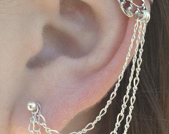 Ear Cuff with Chain - Butterfly Wing - Earring Chain - Ear Wrap - Ear Cuffs - Boho Earrings- Earring with Chain- Boho Ear Cuff