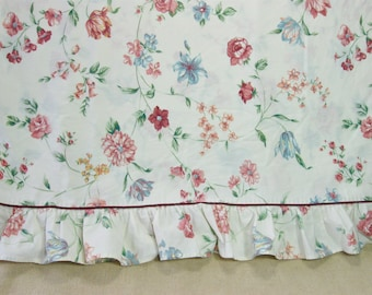 Vintage Floral Ruffled Full Flat Sheet, Double Bed Sheets, Croscill