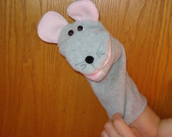 Grey Mouse hand puppet pink mouth and ear  lining hand puppet Puppets by Margie