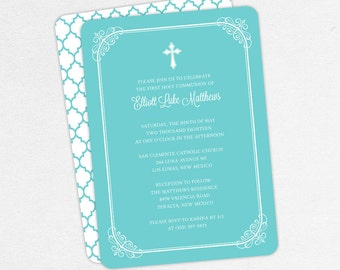 First Communion Invitation, First Holy Communion Invitation, Religious, Print, PDF, DIY Communion Invitation, Boy Invitation, Blue, Elliott