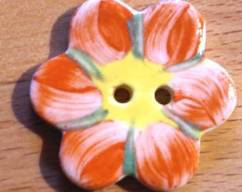 Handmade Ceramic Button Large 35mm Button Porcelain Sewing Knitting Crochet Fibre Pottery Button Orange on White with Yellow Centre