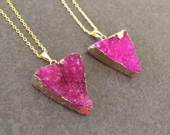 Raw stone druzy triangle pendant necklace | natural stone pendant necklace | pink natural stone necklace | gemstone necklace | druzy stone
