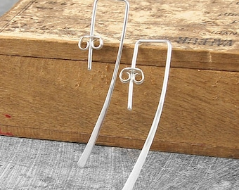 Silver Earrings-Silver Drop Earrings-Minimal Earrings-925 Silver Earrings-Simple Earrings-Long Drop Earrings-Modern Earrings-Gifts for Women