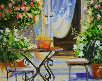 ART Print of AL FRESCO, French patio, outdoor scene,impressionistic painting