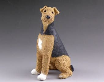 Custom Sculpture Airedale or Welsh Terrier Ceramic Sculpture, pet portrait of your Airedale or Welsh Terrier