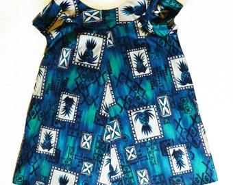 Vintage 1960s Hukilau Hawaiian Muumuu Dress, Blue & Turquoise Bark Cloth