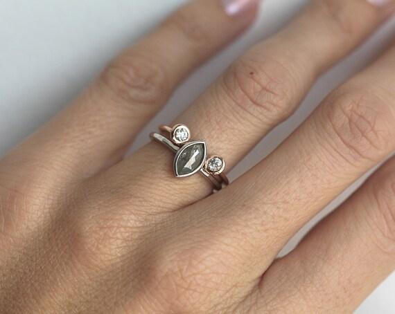 Rose Cut Diamond Ring With Open Diamond Band Modern Diamond