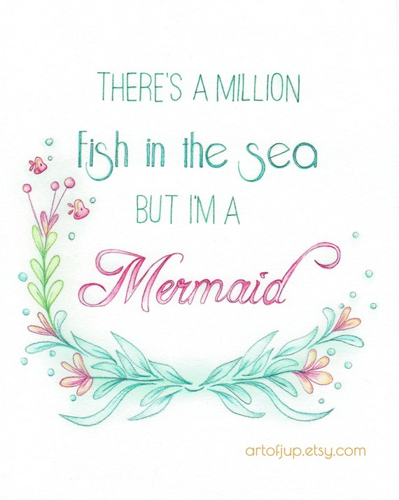 Mermaid Art Quote Art Print Quote Inspirational Quote