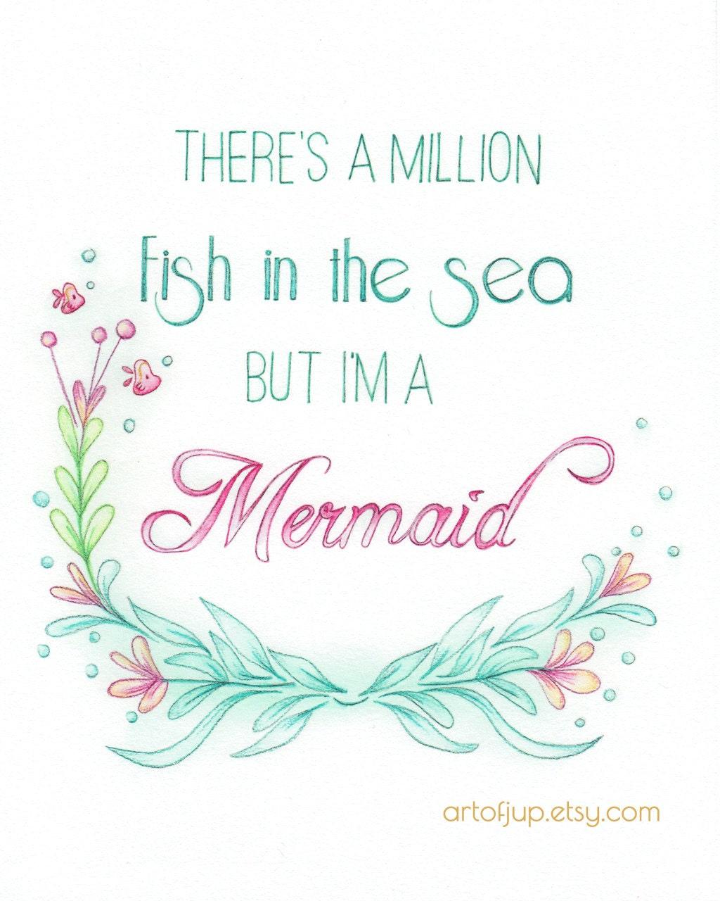 Fish Motivational Quotes: Mermaid Art Quote Art Print Quote Inspirational Quote