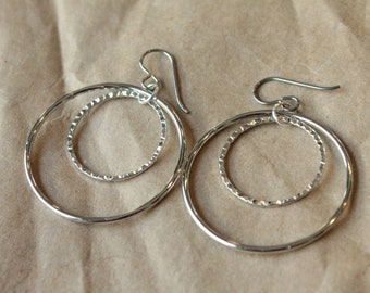 Titanium Hoop Earrings / Allergy Free Earrings / Nickel Free Earrings Hoops - Inner Texture Rhodium Hoop Dangle