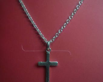 Necklace, Chain with Cross in Sterling Silver