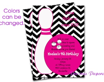 Digital Girls bowling birthday invitations Pink Chevron Bowling Birthday Party Invitations Girls bowling Printable Download within 24 hours