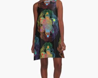 A Line Dress - Rainbow