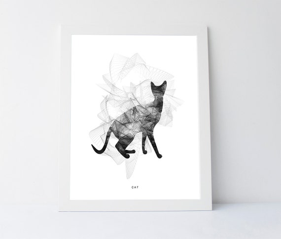 Cat artwork black white cat black white printable wall art