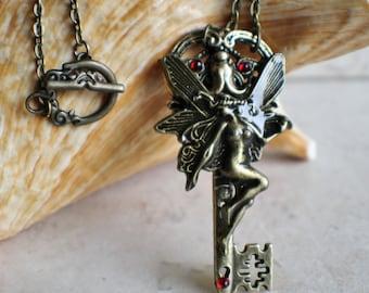Skeleton Key, Fantasy key, Fairy key, Fairy key necklace, Skeleton key pendant