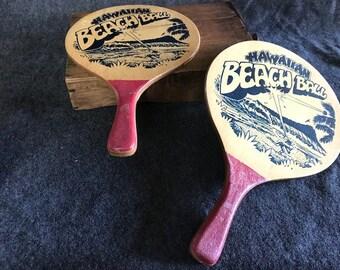 Vintage Hawaiian Beach Ball paddles