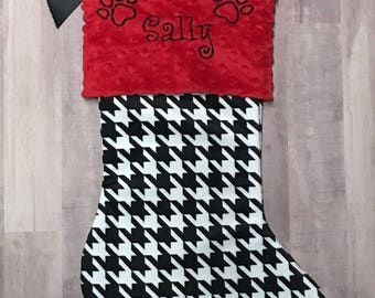 Dog Christmas Stocking, Cat Christmas Stocking, Personalzied Pet Christmas Stocking, Houndstooth Pet Stocking