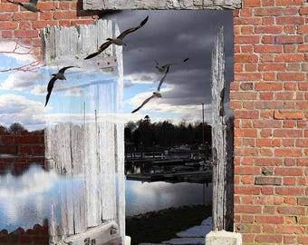 Journey Home, surreal landscape, brick and birds prints or canvas art