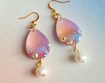 Mermaid Earrings - Shell, Pink, Pearl, Kawaii, Fantasy, Beach, Sea, Summer