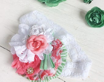 Coral white green headband girl headband baby headband toddler headband matilda jane m2m headband newborn headband shabby chic headband