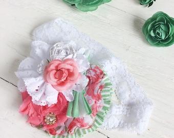 Coral white green headband girl headband baby headband toddler headband matilda jane m2m headband newborn headband shabby chic headband