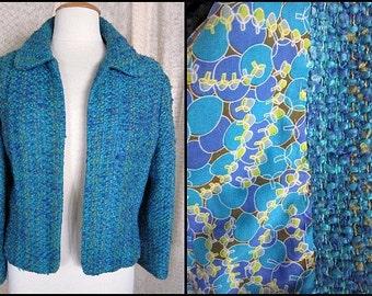 HANDWOVEN TWEED Jacket // Vintage 60s 1960s // fits M-L // Blues Greens Op Art Lining