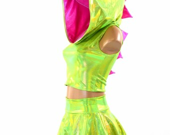 Sleeveless Lime Green Holographic Dragon Spiked Crop Hoodie & Mini Skirt Set / Pink Spikes / Hood Lining Festival Outfit Rave  151487