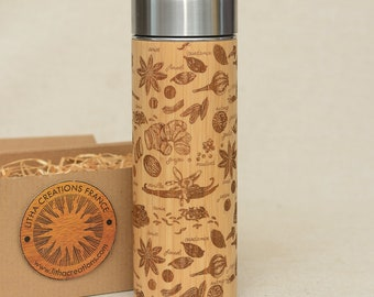 Personalized Thermos Wooden Engraved  Spices Vanille Original Bamboo Wood Vacuum Flask Stainless Steel  with Screw Lid