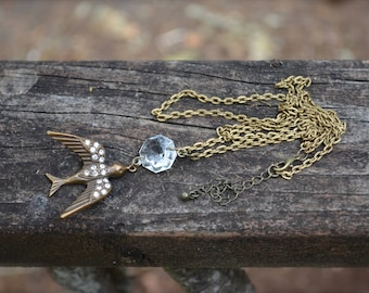 Rhinestone Bird Necklace with antique chandelier crystal handmade long necklace fashion jewelry gift