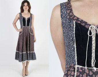 Gunne Sax Dress Prairie Dress Boho Dress Bohemian Dress Vintage 70s Dress Navy Blue Calico Floral Velvet Corset Hippie Midi Maxi Dress M